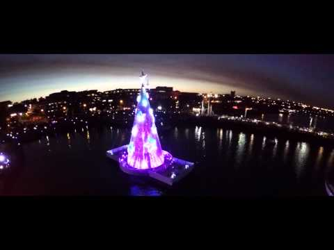 Floating Christmas Tree Lights Up Geelong
