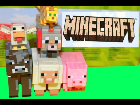Minecraft XBox Game Top Toys Toy Review Minecraft Mob Animals Cow Pig Wolf Chicken Sheep Ocelot