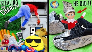 ELF on the SHELF Tinfoiled Our SHOES + Dumpster Diving for Charity (FV FAMILY w/ Buddy the Elf)