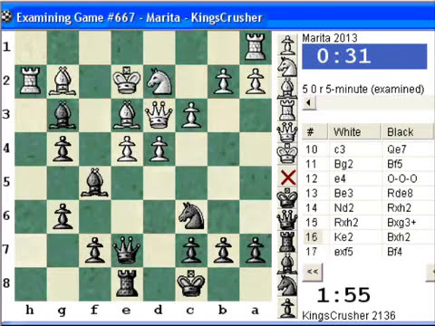 Chessworld.net : Blitz #225 vs. Marita (2013) - Bird: From gambit, Lasker variation (A02)