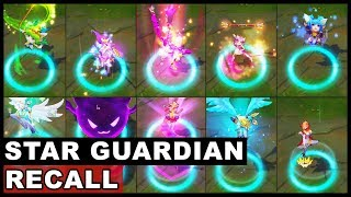 All Star Guardian Recall Animations 10x Skins New and Old Ahri Ezreal Miss Fortune Soraka Syndra