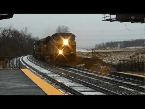 Fast CSX intermodal train through Muirkirk Station 03062013