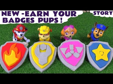 Paw Patrol Stop Motion Play Doh Surprise Toys Logo Badges Accident Rescue Toy Story by ToyTrains4u