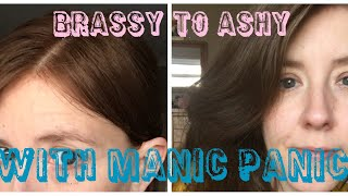 Manic Panic Voodoo Blue vs Joico Colour Intensity Titanium for Toning Down Brassy Red Hair