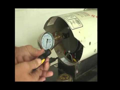 Torpedo heater- How to set the air pump pressure on a Reddy Heater