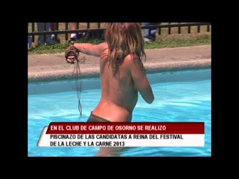 En el club de campos de Osorno se realizó piscinazo de las reinas del festival de la leche y la carne