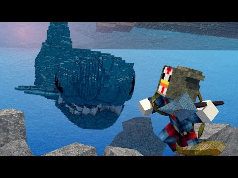 Minecraft MONSTER HUNTING CHALLENGE SAVING SHARK BAY JAWS SHARKS SPONGEBOB