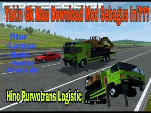 Review Mod Bussid  Hino Purwotrans Logistic Muatan Excavator. #1