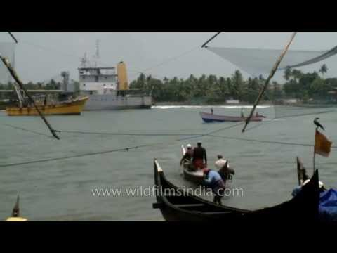 Fishermen go fishing on their boat in the Arabian sea