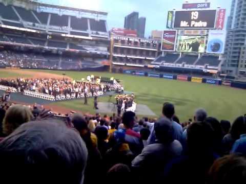 SDSU pep band national anthem at Tony Gwynn memorial