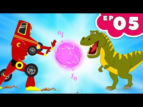 Red Super Car Ricky vs Big Dinosaurs | Kids Cars Cartoon Episode -05