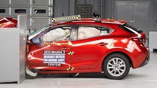 2014 Mazda 3 hatchback small overlap IIHS crash test