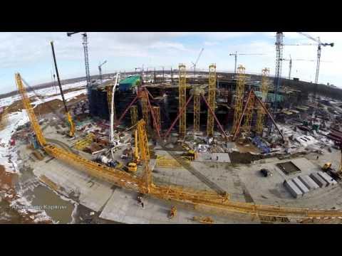 Строительство стадиона в Самаре . Часть 22, март 2016 / Сборка 600-тонного крана LIEBHERR