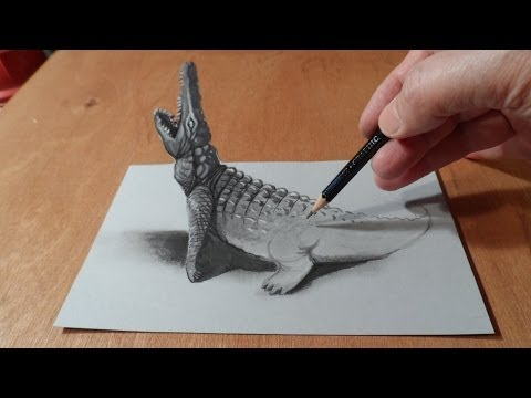 Trick Art, Drawing 3D Crocodile, Time Lapse