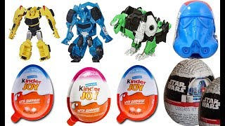 TRANSFORMERS SURPRISE KINDER JOY EGGS & STAR WARS SURPRISE EGGS, BUMBLEBEE, GRIMLOCK, STEELJAW TOYS