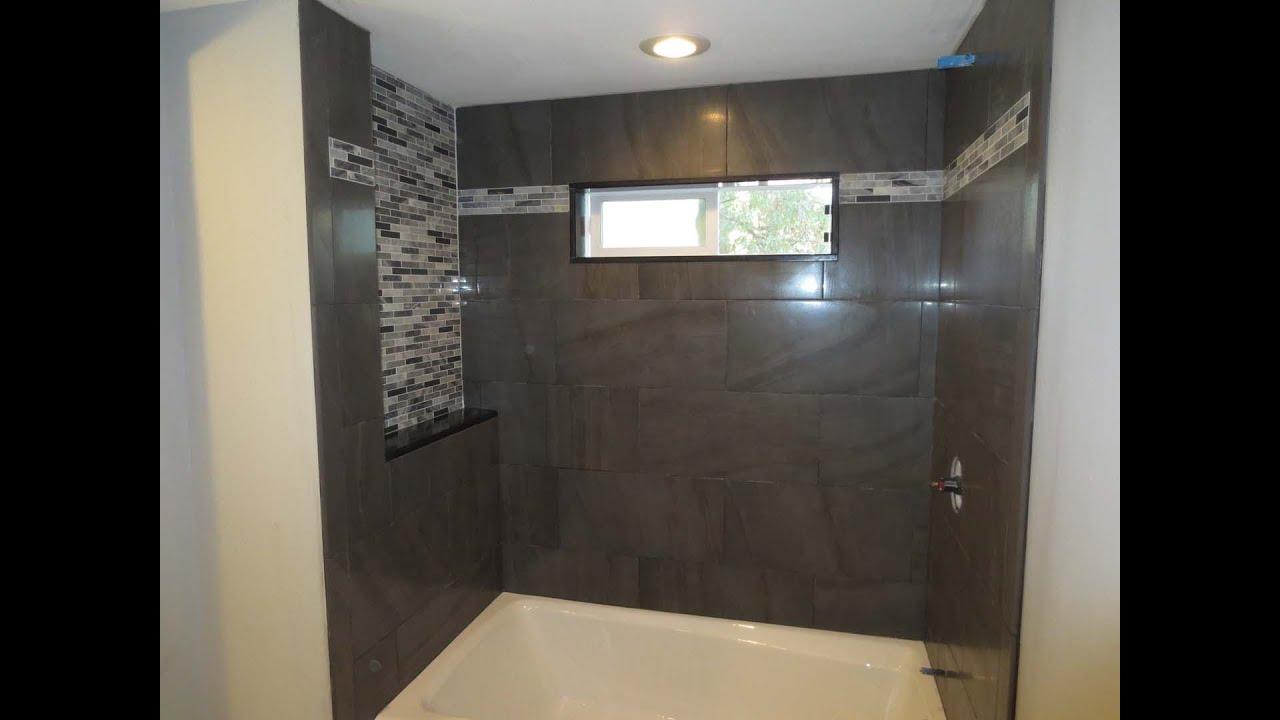 Tile bathroom tub with window time lapse - YouTube