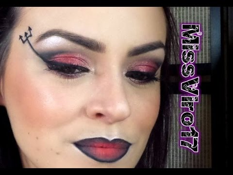 Maquillage d 39 halloween jolie diable youtube Maquillage de diablesse facile a faire