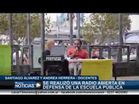 Radio abierta en defensa de la escuela pública en la plaza San Martín   Santiago Álvarez y Andrea He