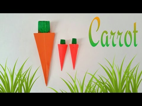 "How to make an easy Paper ""Carrot"" - Origami tutorial"