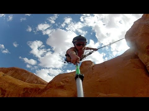 This video was actually made in June, not February. Sorry for the typo. We set up the Swing on Corona Arch with 2 Dynamic ropes with garden hose on each rope so the rock wouldn't cut the rope,...