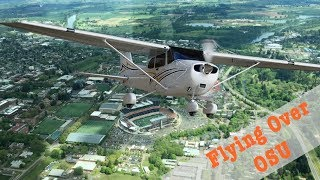 Flying over Oregon State University and Corvallis