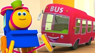 Bob o trem as rodas no ônibus | rimas para crianças | ônibus canção em português | Wheels On The Bus