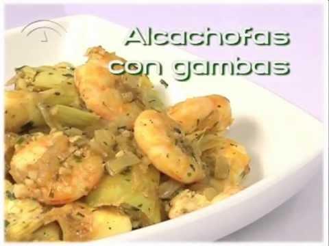 Receta de alcachofas con gambas (Cocina andaluza saludable).