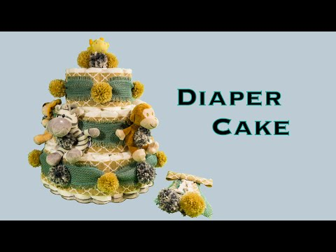 DIAPER CAKE & CORSAGE Baby Boy Shower Gift (DIY. How to Make. Rolled Diaper Method)