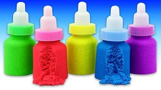 Making Kinetic Sand Baby Milk Bottle DIY with Mad Mattr Learn Colors Play Doh & Kinder Surprise Eggs