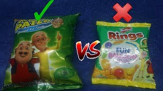 Motu patlu Swadka Tadka (snacks) Vs Motu Patlu Yellow Diamond Rings (Snakcs) -Who is The winner