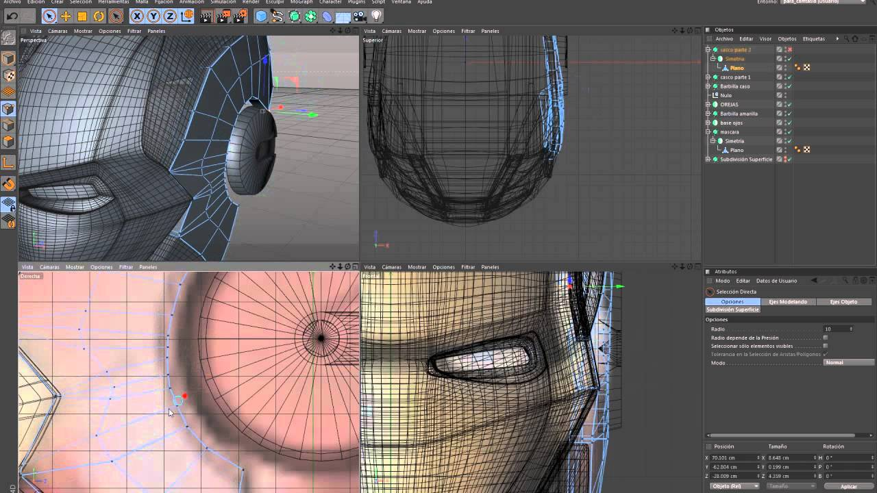 Helmet Tutorial Cinema 4d Ironman Helmet in Cinema 4d