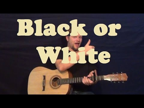 Black or White Michael Jackson Easy Strum Guitar Lesson Chords How to Play Tutorial