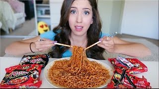 SPICY NUCLEAR FIRE NOODLE CHALLENGE! (Mukbang Eating Show)