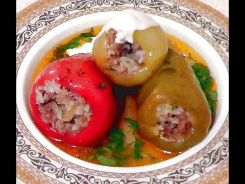 Фаршированные болгарские перчики с мясом и рисом | stuffed peppers
