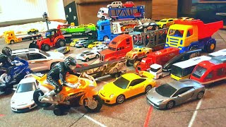 Cars and Trucks playing with toy cars and toddler's toy cars