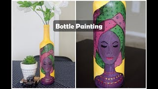 Wine bottle crafts|Glass bottle painting|Wine bottle decoration ideas|Acrylic painting on glass