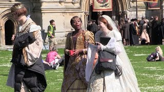The Spanish Princess. Charlotte Hope Cast And Crew Filming On Location In Wells.