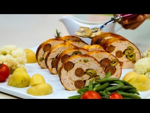 Choumicha : Roulé de poulet شميشة : ملفوف بالدجاج المفروم والنقانق، صلصة الفطر
