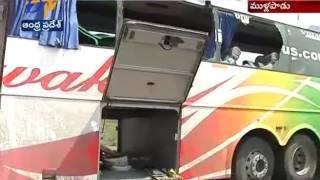 Volvo Bus Manufacturer Representatives Visits Accident Bus in Krishna Dist