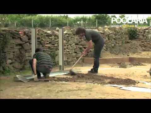 Montaje piscina gre ovalada con vigas enterradas sistema - Piscinas de acero enterradas ...
