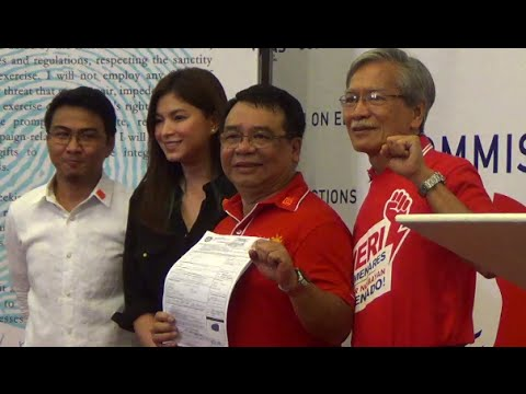 Colmenares files COC with Angel Locsin in tow
