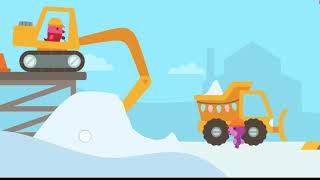 Trò chơi trẻ em: chó con  lái máy xúc xây nhà