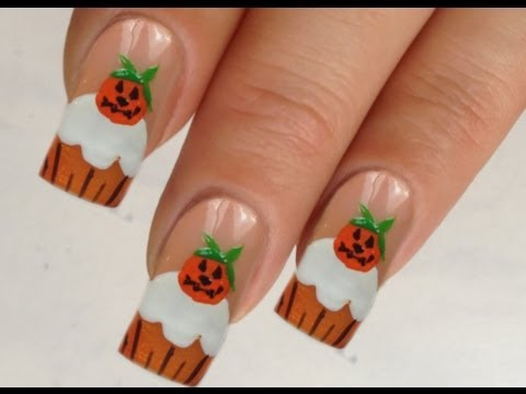 Nailart Design Tutorial Halloween pumpkin-cupcake