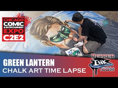 C2E2 Green Lantern Chalk Art Time Lapse