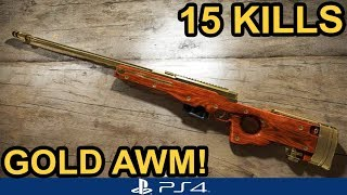 PUBG PS4 / 15 KILLS SOLO / GOLDEN AWM!!