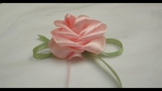 Розочка из лент за 1 минуту. Мастер-класс.  Ribbon Rose Tutorial