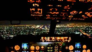 The most beautiful large landing of aircraft at night, top