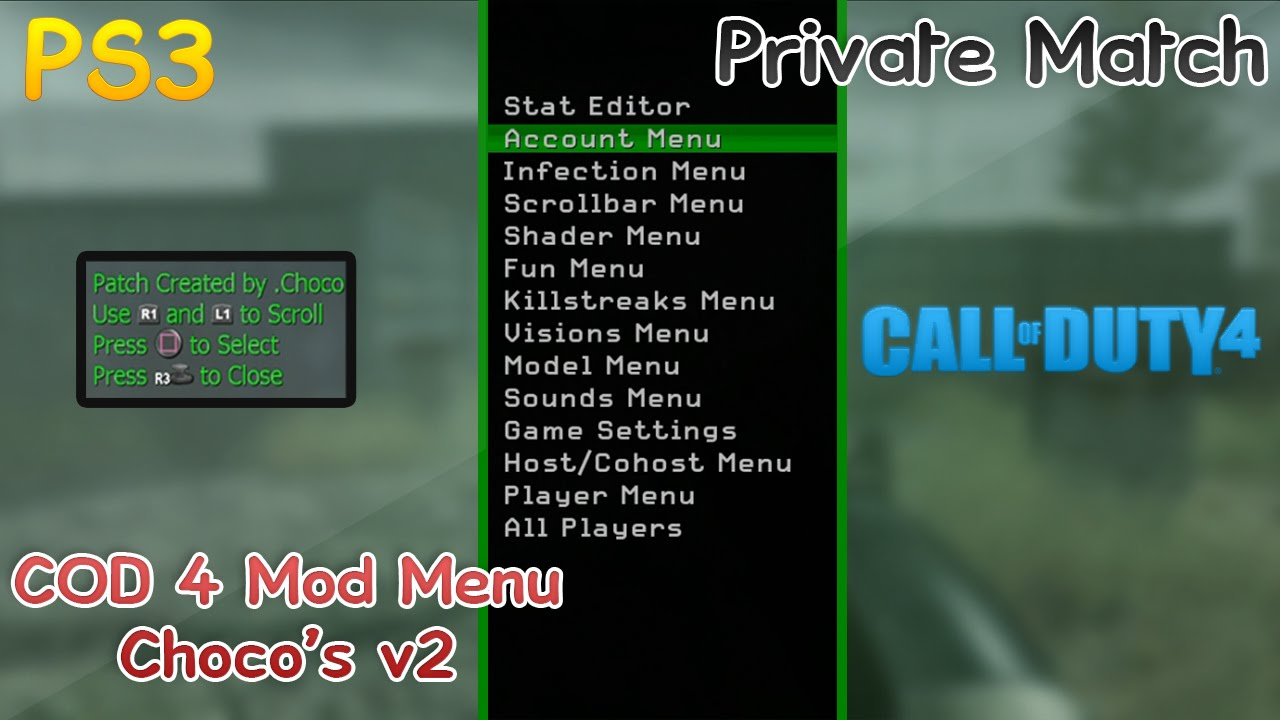 PS3 COD 4 - Mod Menu - Best Patch By Choco's v2 + DOWNLOAD - JB. cod 5