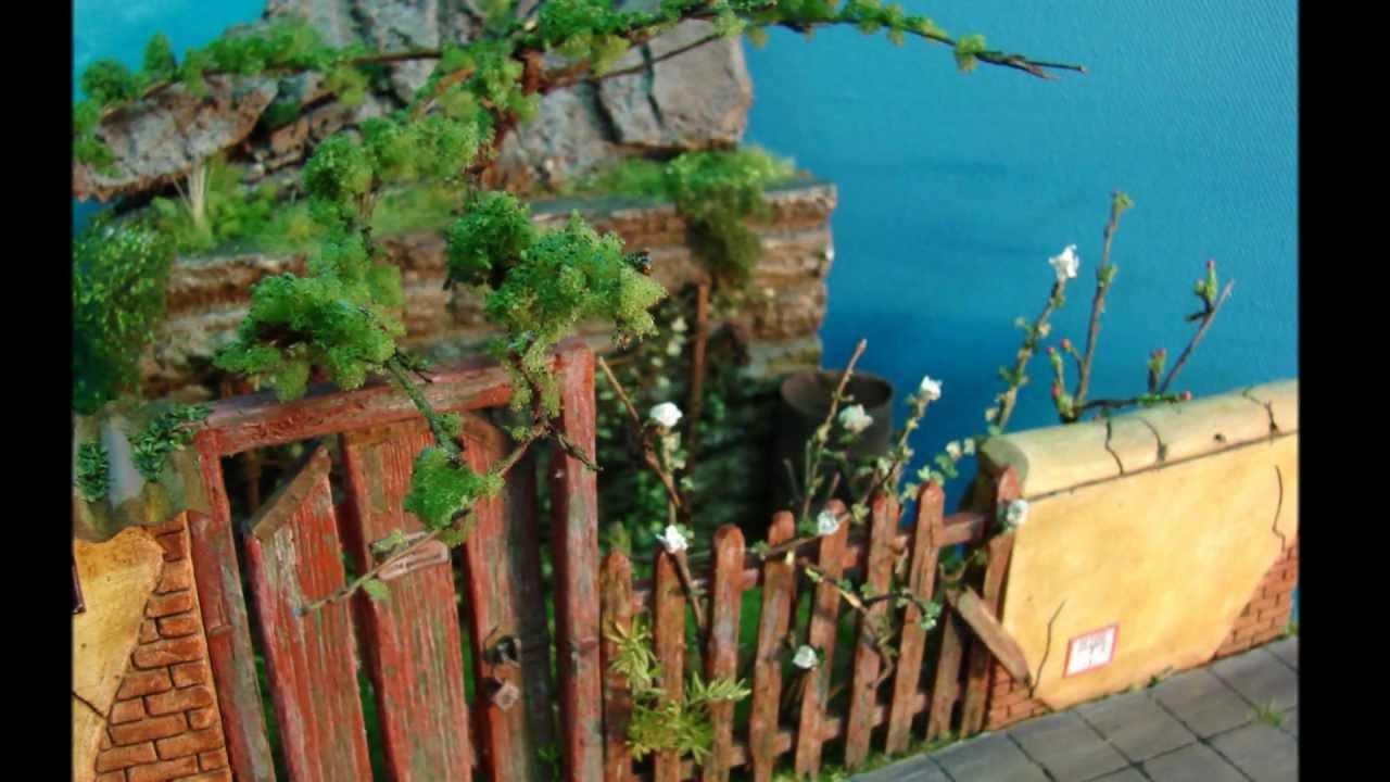 modellbau vorgarten mit altem zaun und tor ma stab 1 22 5. Black Bedroom Furniture Sets. Home Design Ideas