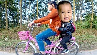 Bé Ben Ngồi Xe Đạp ❤Đi Học Chị Huyền Chở ❤ baby bike